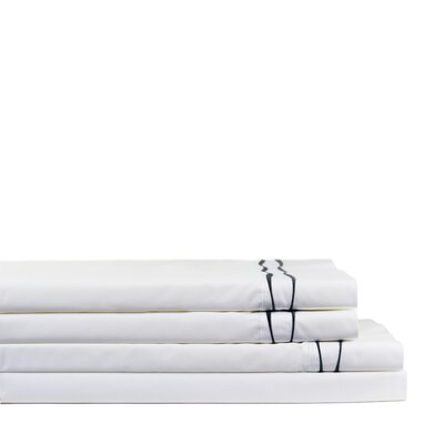 Wavy Drakeford Embroidered 300 Thread Count Percale Sheet Set Size: Twin, Color: Charcoal/White