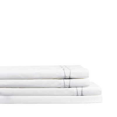 Wavy Drakeford Embroidered 300 Thread Count Percale Sheet Set Size: Full, Color: Gray/White
