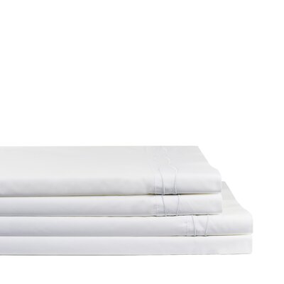 Wavy Drakeford Embroidered 300 Thread Count Percale Sheet Set Size: California King, Color: White/White