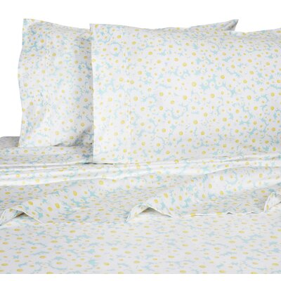 Crossen Daisies 400 Thread Count 100% Cotton Sheet Set Size: Queen, Color: Blue