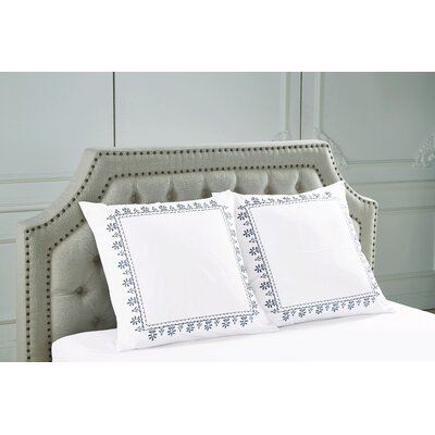Emborough Embroidered Sham Color: Blue
