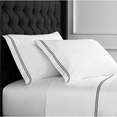 Drakeford Embroidered 600 Thread Count Sheet Set Size: Twin, Color: Charcoal Gray