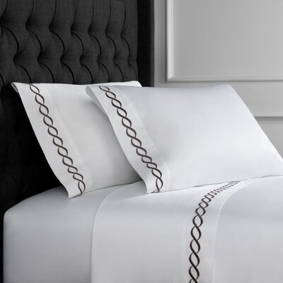 Crosslin Rope Embroidered 600 Thread Count 100% Cotton Sheet Set Size: King, Color: Charcoal Gray