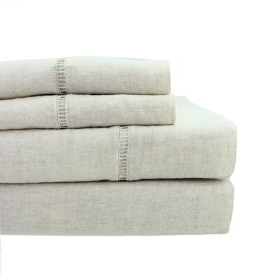 Dahmen Ladder Hem Sheet Set Size: King, Color: Natural
