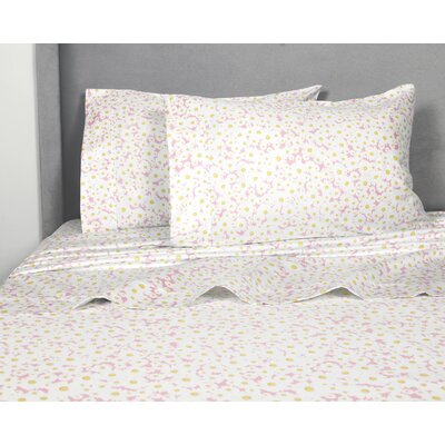 Crossen Daisies 400 Thread Count 100% Cotton Sheet Set Size: Full, Color: Pink