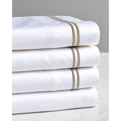 Fernisky Double Stripe Embroidered Sham Color: Latte