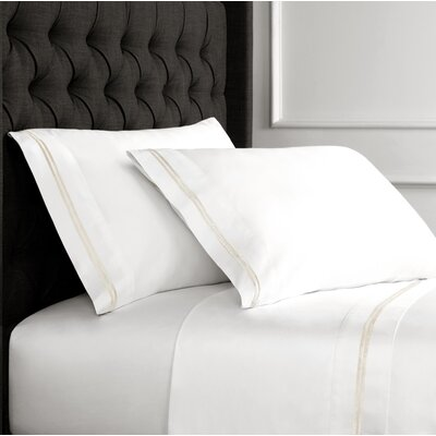 Drakeford Embroidered 600 Thread Count Sheet Set Size: Queen, Color: Ivory