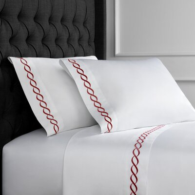 Crosslin Rope Embroidered 600 Thread Count 100% Cotton Sheet Set Size: Full, Color: Burgundy