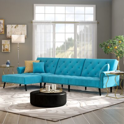 Salcombe Reversible Sectional Upholstery: Blue