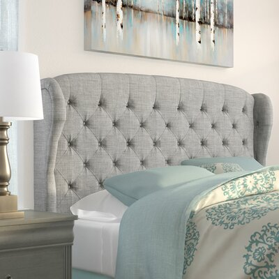 Leatham Upholstered Wingback Headboard Size: Queen, Upholstery: Gray