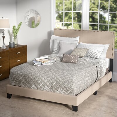 Minos Queen Upholstered Panel Bed Color: Beige