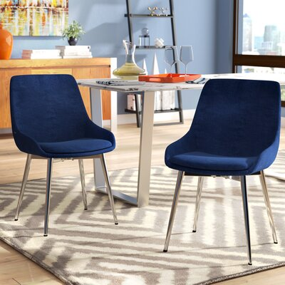 Cortes Upholstered Dining Chair Upholstery Color: Blue