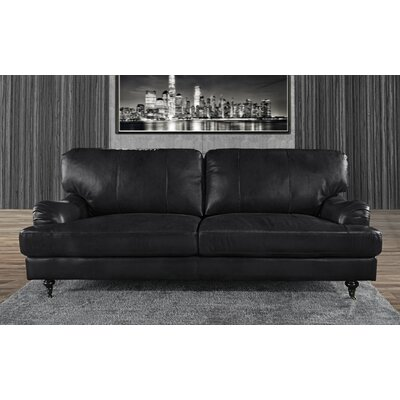 Westerlo Classic Leather Sofa Upholstery: Black