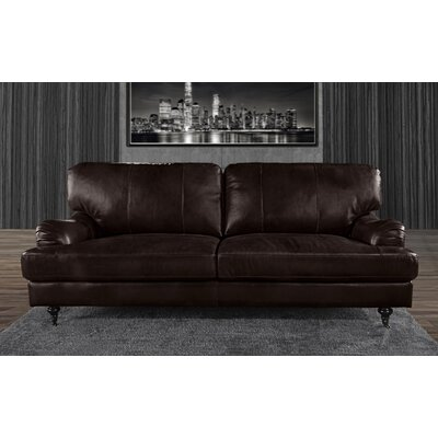 Westerlo Classic Leather Sofa Upholstery: Dark Brown
