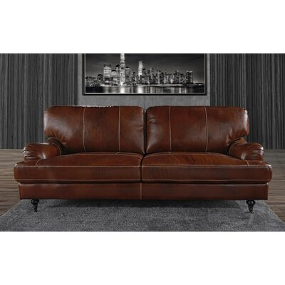 Westerlo Classic Leather Sofa Upholstery: Brown