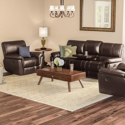 Deverell 3 Piece Leather Reclining Living Room Set