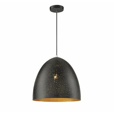 Coury 1-Light Inverted Pendant Finish: Black/Gold