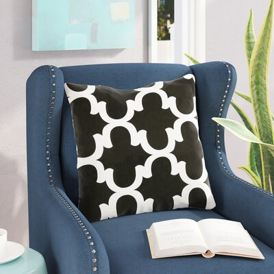 Shreve Trellis 100% Cotton Throw Pillow Color: Black