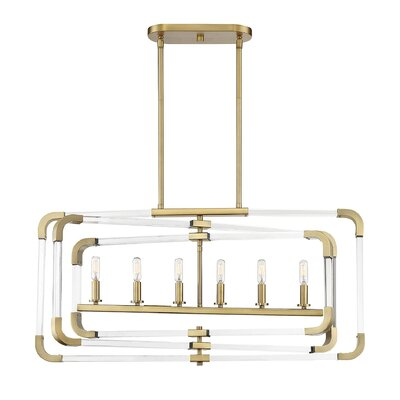 Haris 6-Light Kitchen Island Pendant Finish: Warm Brass
