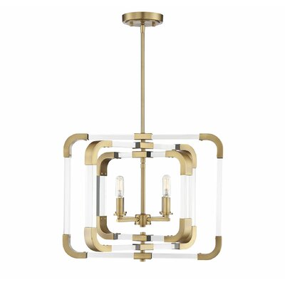 Haris 4-Light Foyer Pendant Finish: Warm Brass