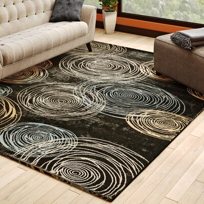 Archbald Constellation Black/Beige Area Rug Rug Size: 710 x 910