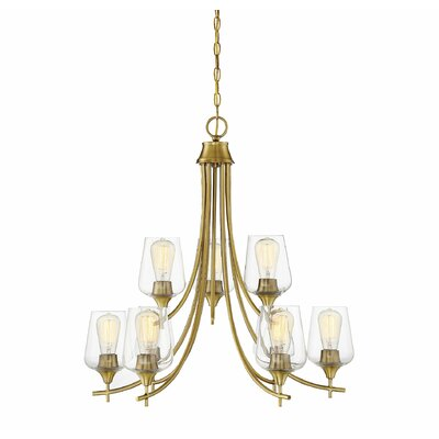 Staci 9-Light LED Candle-Style Chandelier Finish: Warm Brass