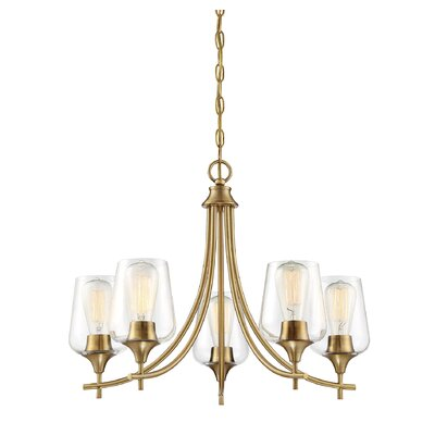 Staci 5-Light LED Candle-Style Chandelier Finish: Warm Brass