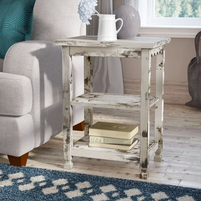 Mangum 2 Shelf End Table Color: White