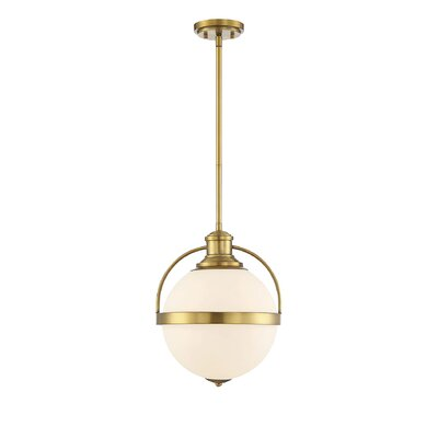 Courtland 1-Light LED Globe Pendant Finish: Warm Brass, Size: 11.5 H x 8.75 W x 8.75 D