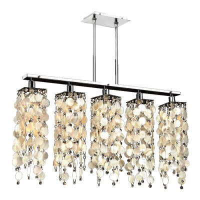 Charland Oyster Shell 5-Light Kitchen Island Pendant