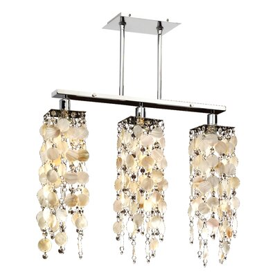 Charette Oyster Shell 3-Light Kitchen Island Pendant