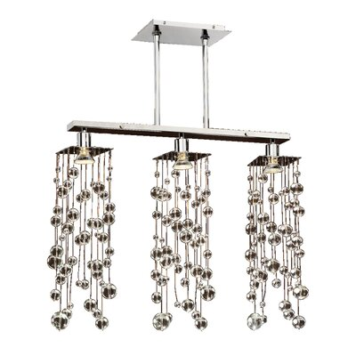 Granli Smooth Bead Crystal 3-Light Kitchen Island Pendant