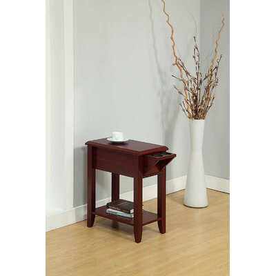 Tollett Chairside End Table with Storage Color: Mahogany