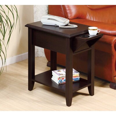 Tollett Chairside End Table with Storage Color: Red Cocoa