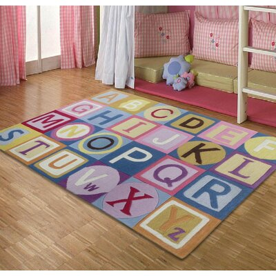 Hayslett ABCs Hand-Tufted Pink/Blue Area Rug