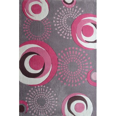 Hawkin Circles Hand-Tufted Gray/Pink Area Rug