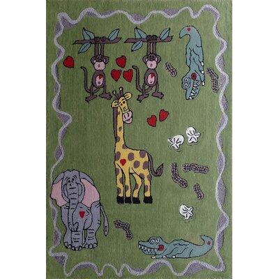 Hayse Animal Friends Hand-Tufted Green Area Rug