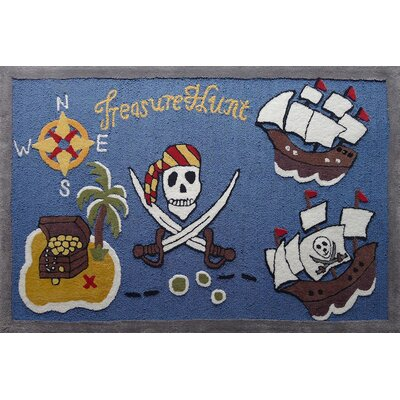 Haygood Pirate Theme Hand-Tufted Blue/Brown Area Rug