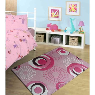 Hayter Circles Hand-Tufted Pink Area Rug