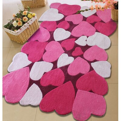 Hazelip Love Theme Hand-Tufted Pink/Red Area Rug