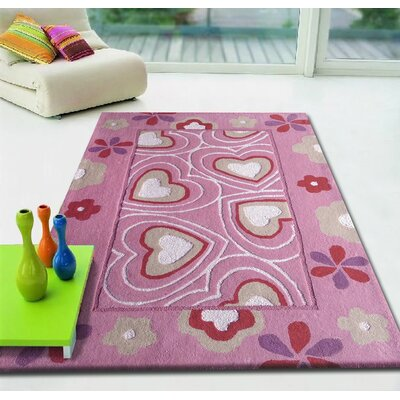 Hayworth Hearts Hand-Tufted Pink/White Area Rug