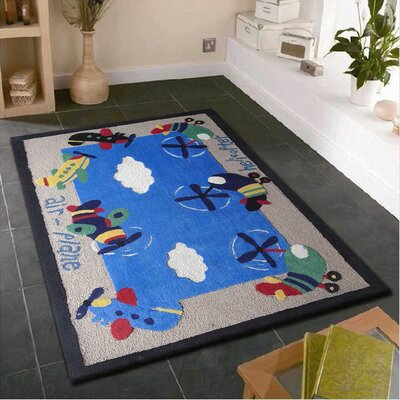 Hayman Airplanes Hand-Tufted Blue/Gray Area Rug