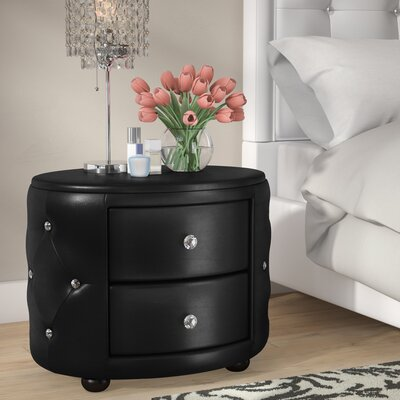 Rundle 2 Drawer Nightstand Color: Black