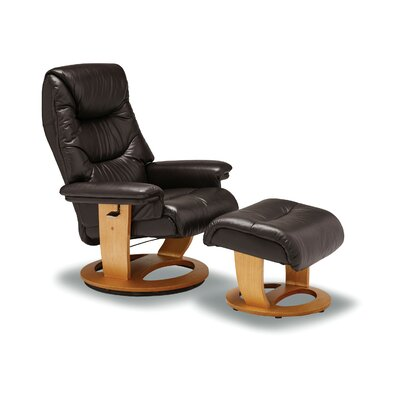 Larkins Leather Manual Recliner with Ottoman Upholstery: Brown