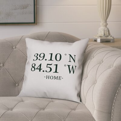 Bloomfield Longitude and Latitude Home Coordinates Throw Pillow