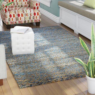 Erving Hand-Woven Natural Blue Area Rug Rug Size: 5 x 8