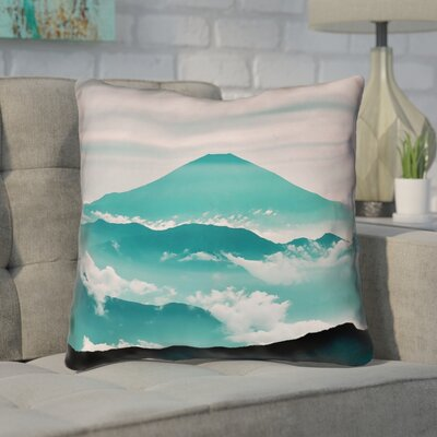 Enciso Fuji Cotton Throw pillow Size: 14 H x 14 W, Color: Green