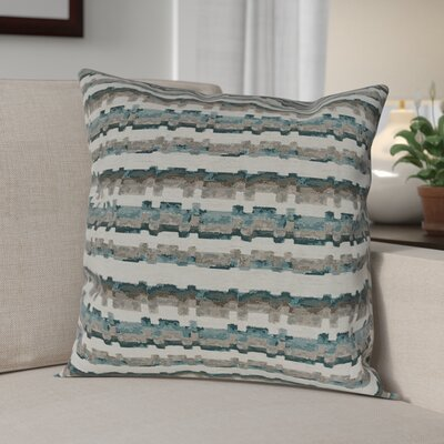 Flaton Barcode Woven Decorative Pillow Cover Color: Teal