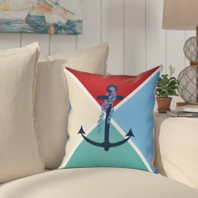 Hancock Anchor Flag Geometric Print Outdoor Throw Pillow Size: 18 H x 18 W, Color: Red