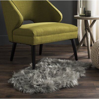 Isacc Faux Sheepskin Grey Area Rug Rug Size: 2 x 3
